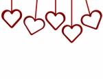 3d Render Hanging Hearts Background