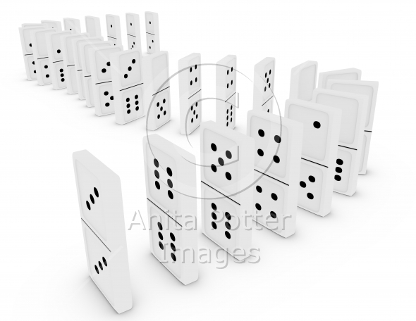 3d Render of Dominoes in a Curved Line