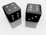 3d Render of a Pair of Dice Reflecting on White