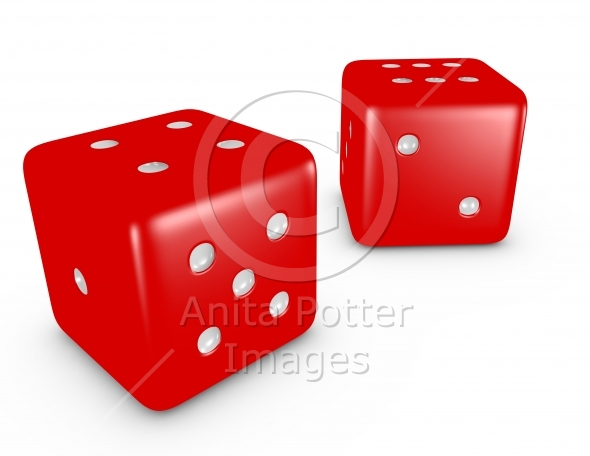 3d Render of a Red Pair of Dice on White