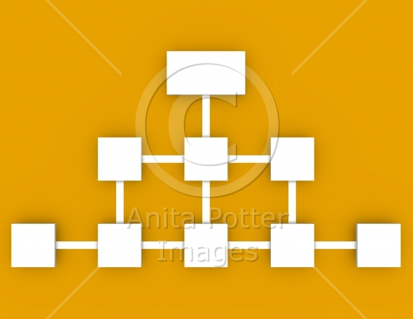 3d Render of a Flow Chart on an Orange Background