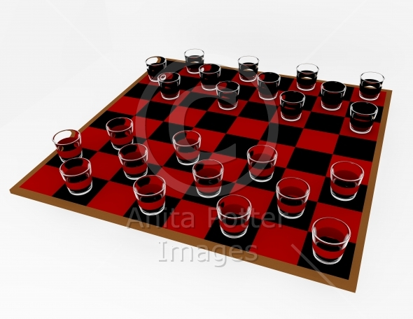 3d Render Shot Glass Checkers