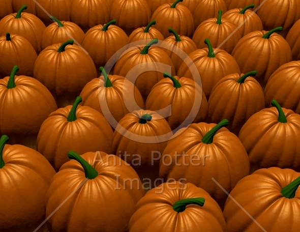 3d Render of a Pumpkin Patch