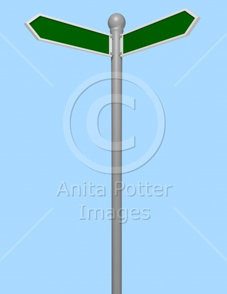 3d Render of a Blank Street Sign
