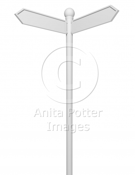 3d Render of a Blank White Road Sign