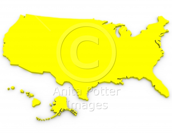 3d Render of the United States on White